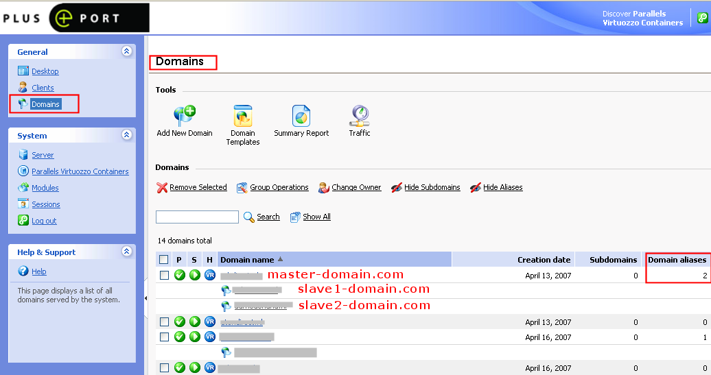 Select Domain management